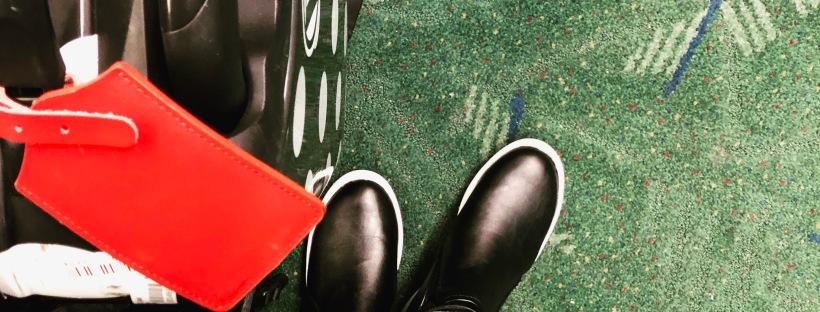 suitcase, shoes, pdx airport carpet